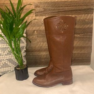 Tory Burch brown leather ridding boots size 8